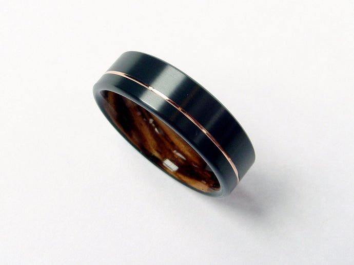 Wood Ring in Black Zirconium with Zebrawood and 14k Rose Gold Pinstripe