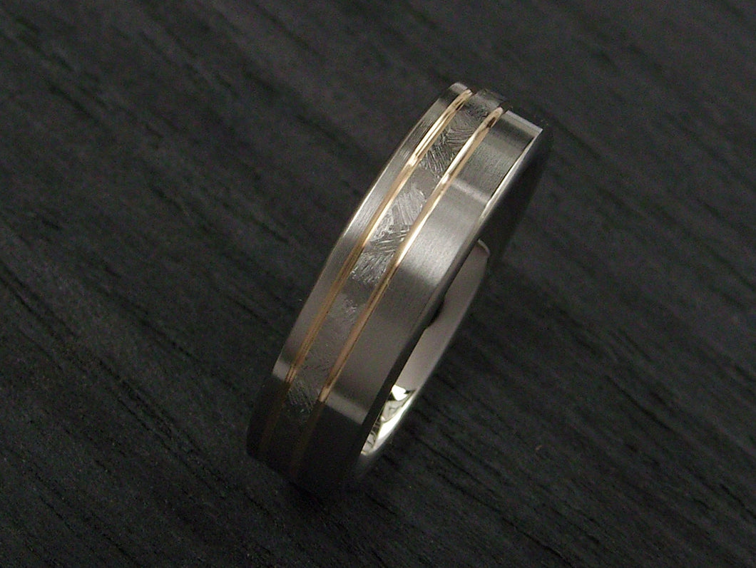 Mens Wedding Band in Hand Chased Titanium and Yellow Gold