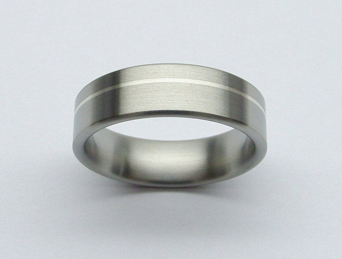 Titanium Wedding Ring in Brushed Finish with Argentium Silver Inlay
