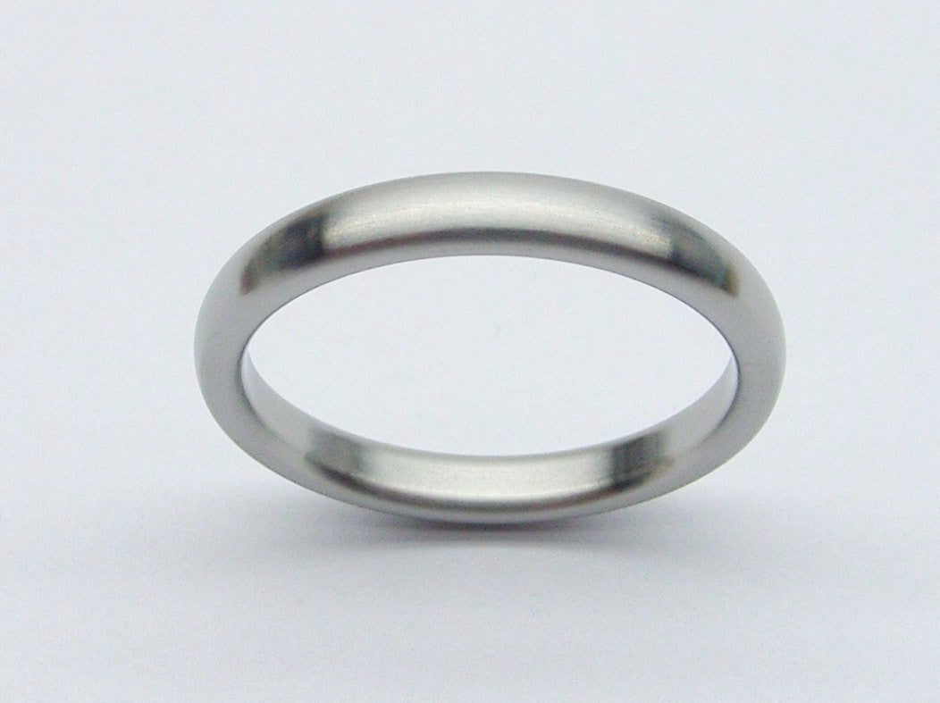 Narrow and Domed Womens Wedding Band in Brushed Titanium