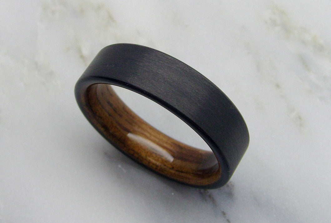 Wooden Wedding Band in Carbon Fiber and Hawaiian Koa Wood