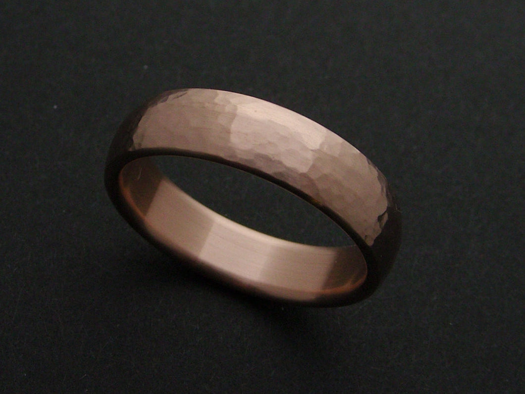 Hammered Wedding Ring in Bronze