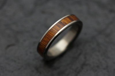 Wooden Wedding Band in Titanium and Arizona Desert Ironwood