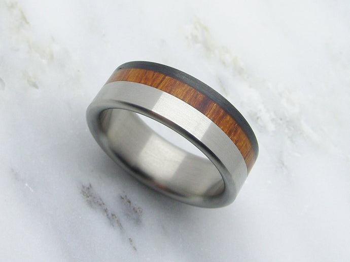 Handcrafted Titanium Wedding Ring featuring Arizona Desert Ironwood and Carbon Fiber