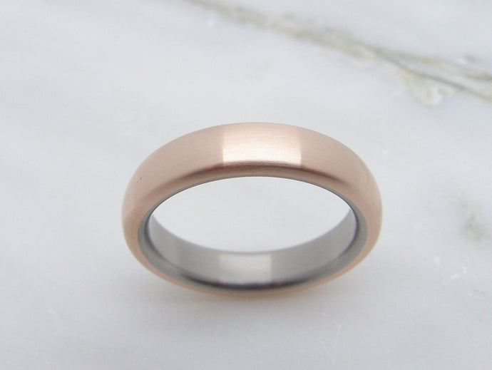Classic Domed Wedding Ring in Bronze and Titanium