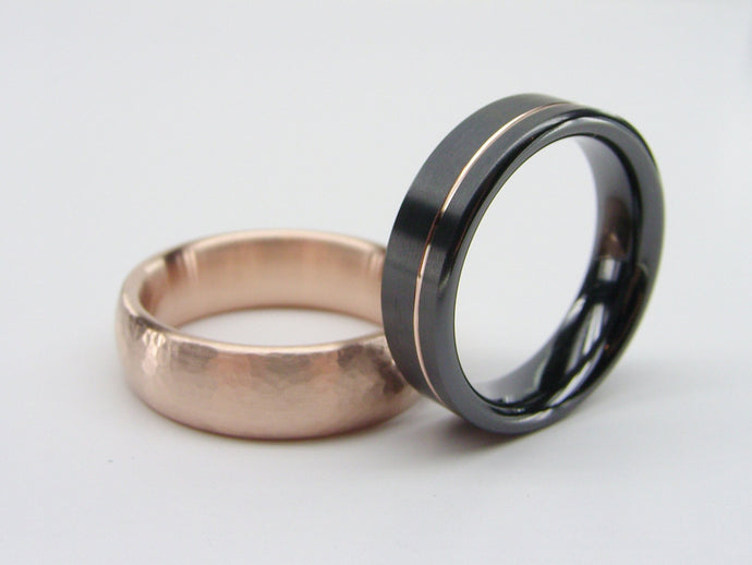 Custom Wedding Band Set - Hammered Bronze Ring and Rose Gold Pinstripe Black Zirconium Ring