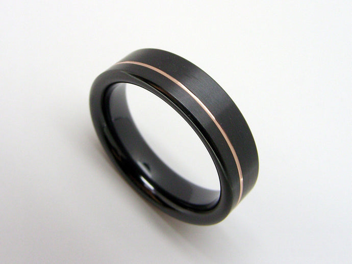 Black Wedding Band in Zirconium with Rose Gold Pinstripe Inlay