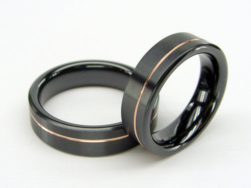 Black Wedding Ring Set in Zirconium Metal with an Offset Rose Gold Pinstripe