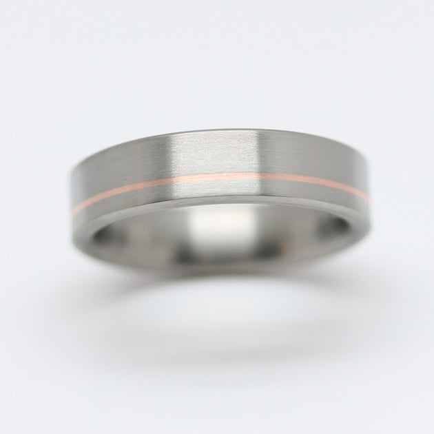 Copper Pinstripe Inlay in a Brushed Titanium Wedding Ring