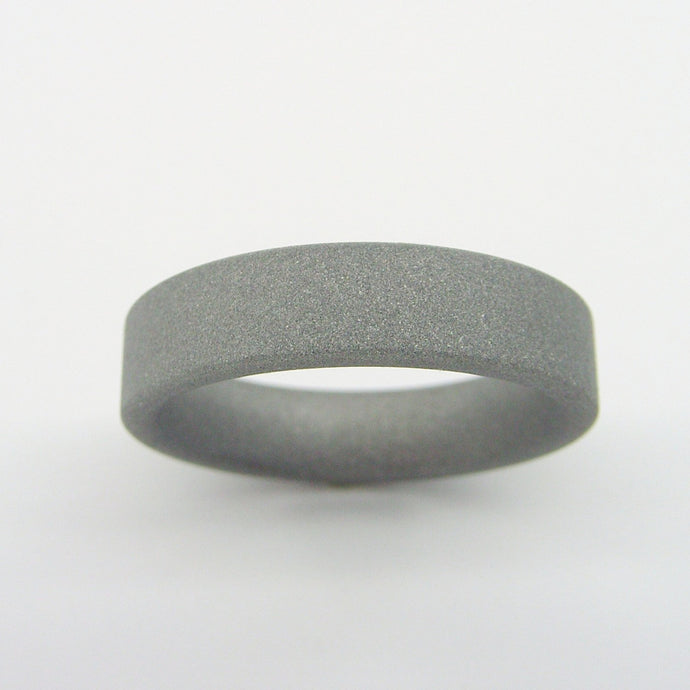 Sandblasted Matte Gray Titanium Wedding Ring