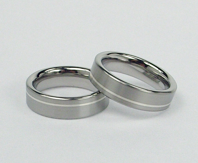 Titanium Wedding Band Set in Brushed and Polished Finish with Argentium Silver Pinstripe Inlay