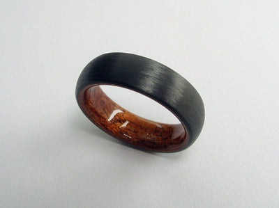 Wood Wedding Ring in Domed Black Carbon Fiber and Bent Rosewood