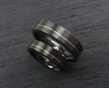 Load image into Gallery viewer, Black Wedding Band Set in Zirconium and Argentium Silver