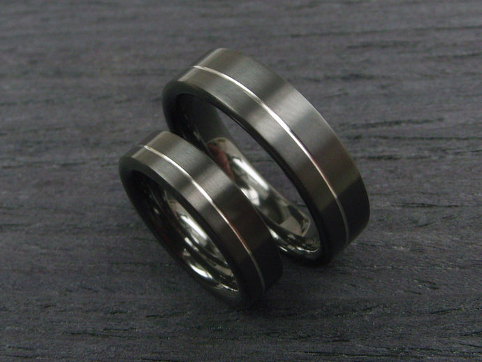 Black Wedding Band Set in Zirconium and Argentium Silver