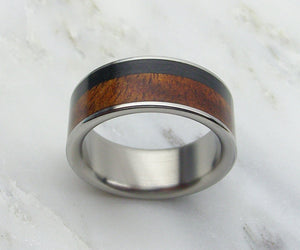 Titanium and Wood Ring in Koa with Carbon Fiber