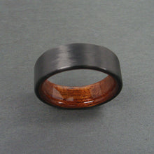 Load image into Gallery viewer, Black Carbon Fiber and Wood Ring with Rosewood Interior