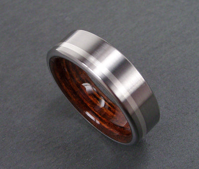Wooden and Tianium Wedding Ring with Marine Deck Wood and Offset Argentium Silver Stripe