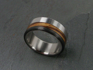 Handcrafted Titanium Wedding Ring featuring Zebrawood and Carbon Fiber