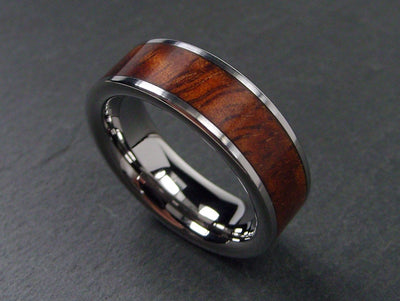 Wooden Wedding Band in Polished Titanium and Hawaiian Koa