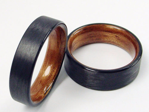 Black Carbon Fiber with Hawaiian Koa Wood Interior Wedding Band Set