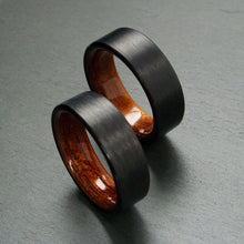 Load image into Gallery viewer, Black Carbon Fiber with Rosewood Interior Wedding Band Set