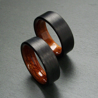 Black Carbon Fiber with Rosewood Interior Wedding Band Set
