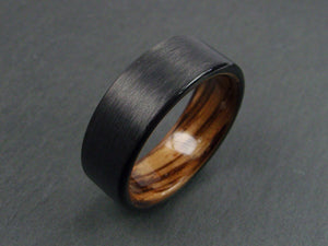 Black Carbon Fiber and Wood Ring with Zebrawood Interior