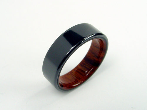 Wood Ring in Black Zirconium with Arizona Desert Ironwood Interior