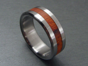 Arizona Desert Ironwood Wooden Wedding Band in Brushed Titanium