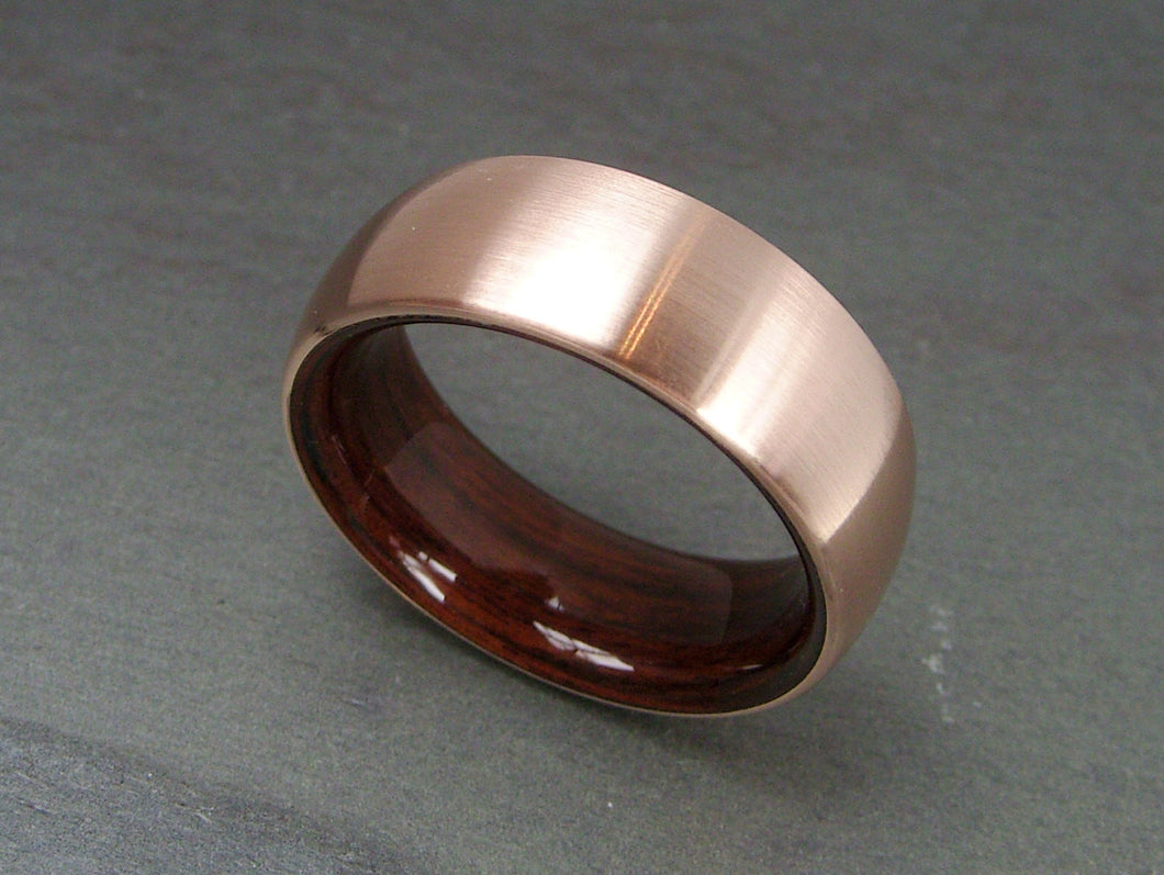 Domed Ring in Bronze with Kingwood Interior