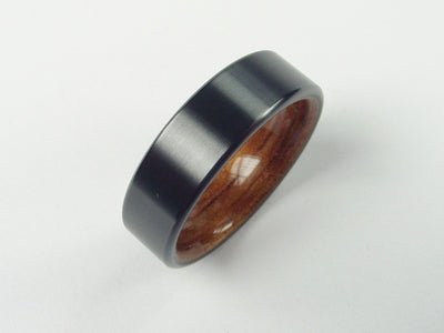 Wood Ring in Black Zirconium with Hawaiian Koa Wood Interior