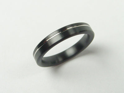 Narrow Pinstripe Ring in Black Zirconium and Palladium