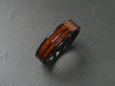 Wood Ring in Black Zirconium with Desert Ironwood
