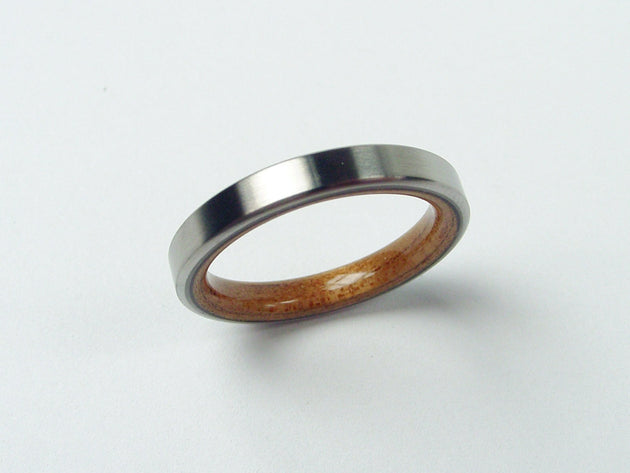 Narrow Thin Koa Wood Interior Titanium Wedding Ring in Brushed Finish