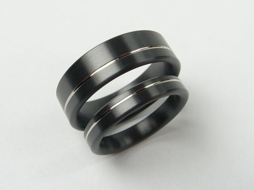 Palladium Pinstripe Ring Set in Satin Black Zirconium