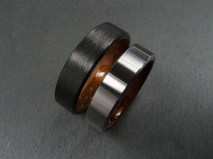 Black Carbon Fiber with Koa and Titanium with Rosewood Wedding Band Set