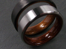 Load image into Gallery viewer, Black Carbon Fiber with Koa and Titanium with Rosewood Wedding Band Set