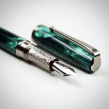 Load image into Gallery viewer, Emerald Green Alumilite Fountain Pen with Titanium Waterfall Clip
