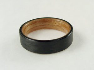 Oak Wood and Black Carbon Fiber Ring