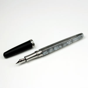 Italian Acrylic Fountain Pen with Titanium Hardware and Black Ebonite Cap