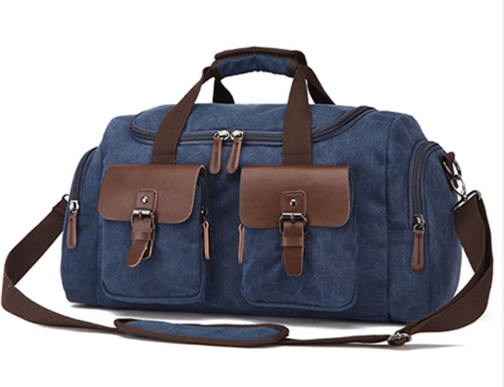 Canvas Duffel Bag with PU Leather Trim