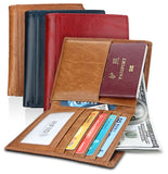 Mens Genuine Leather Passport Style Wallet