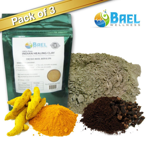 Bentonite Clay (Pack of 3) with Turmeric & Cloves Powder.