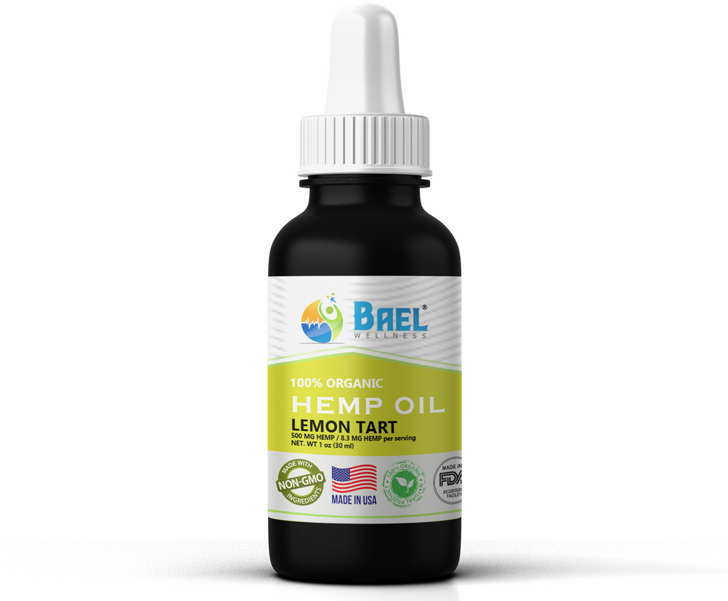 Hemp Oil (Lemon Tart) 500 mg. Naturally relieves pain, inflammation. Vegan & organic.