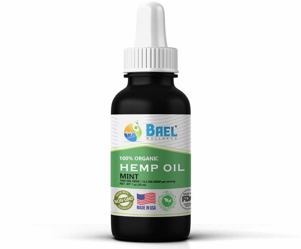 Hemp Oil (Mint) 1000 mg. Naturally relieves pain, inflammation. Vegan & organic.