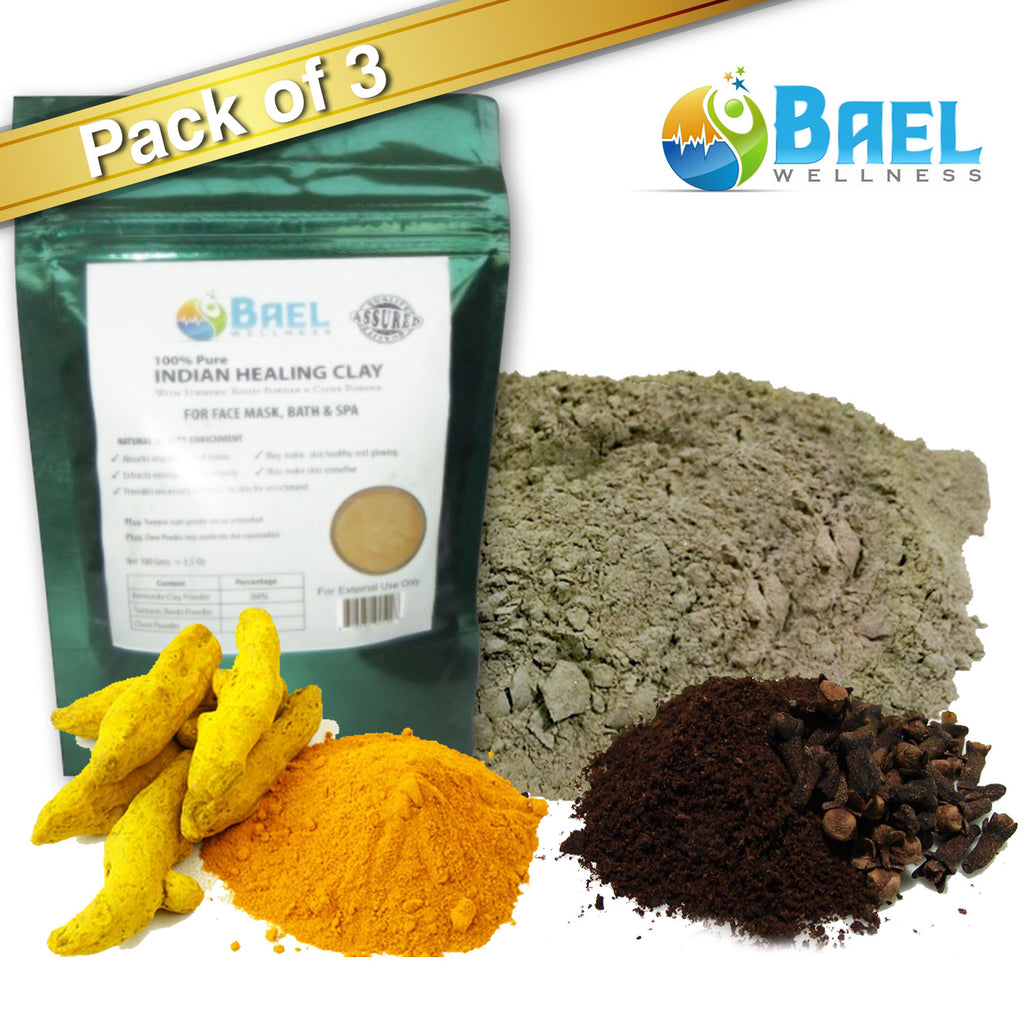 Bentonite Clay (Pack of 3) with Turmeric & Cloves Powder. Indian Healing Clay, Fullers Earth Powder for Facial Mask, Hair, Bath & Spa