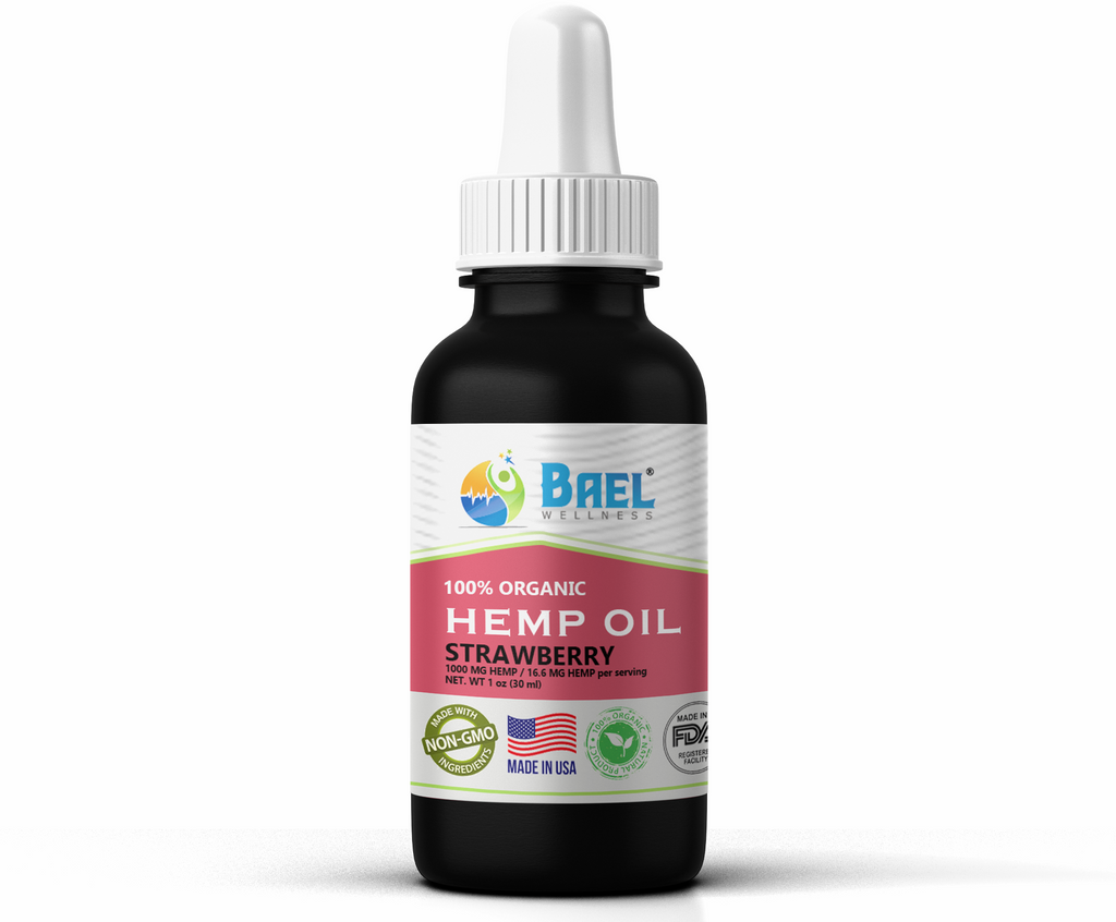 Hemp Oil (Strawberry) 1000 mg. Naturally relieves pain, inflammation. Vegan & organic.