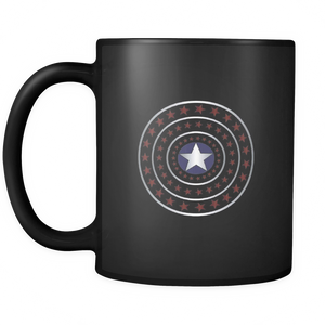 4th July Stars Coffee Tea Mug  Black 11oz