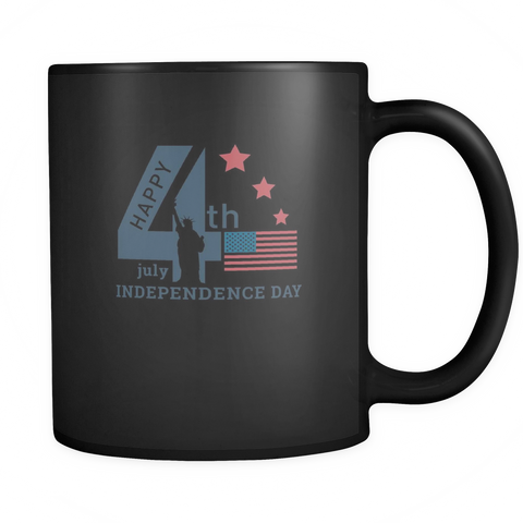 teelaunch 11oz Black Mug 4th july independance 4th July Independence Coffee Tea Mug Black 11 oz