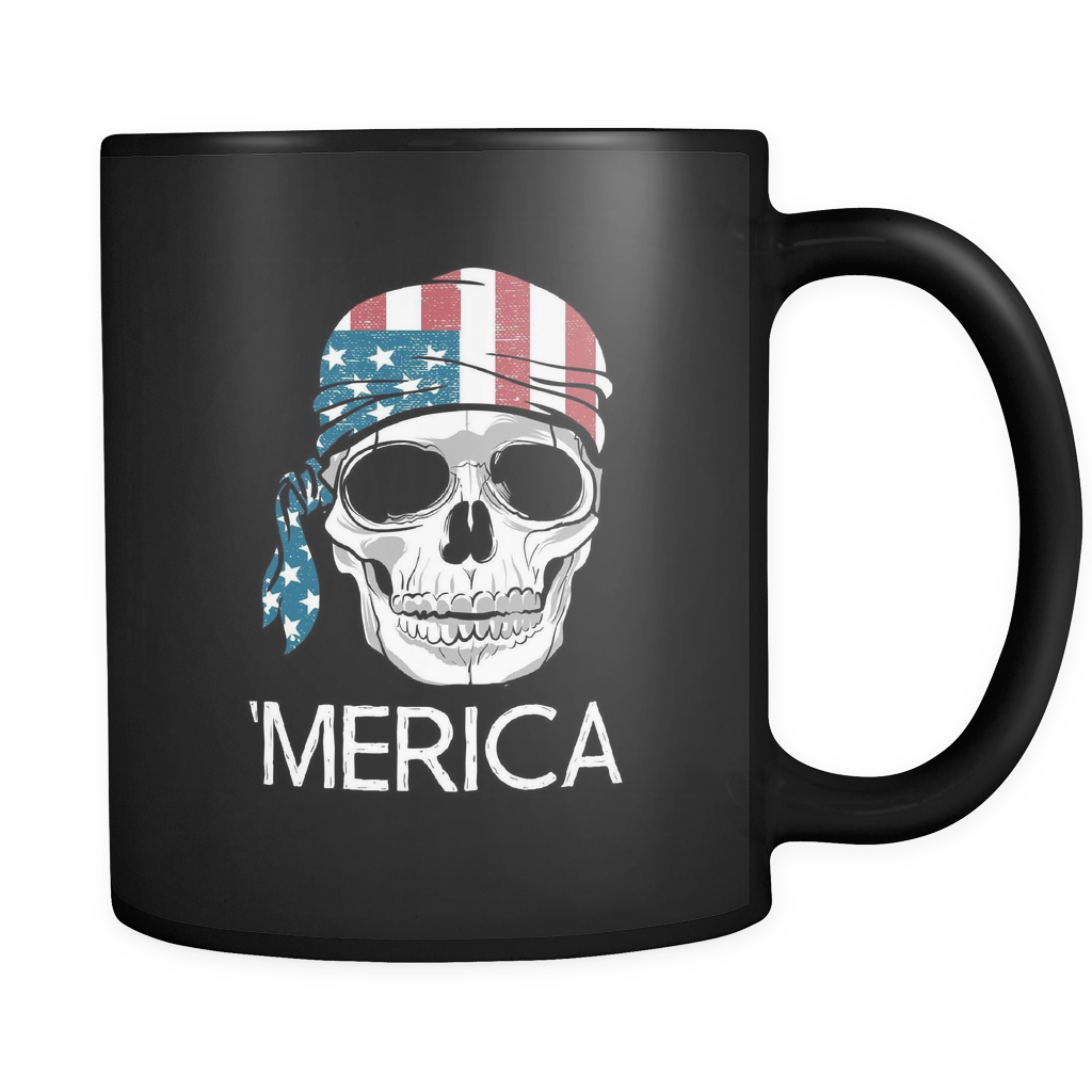 teelaunch 11oz Black Mug Americ America Coffee Tea Mug Black 11 oz